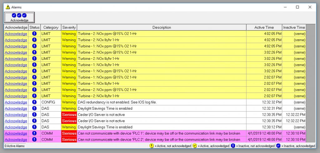 CeDAR Data Monitor Alarm windows