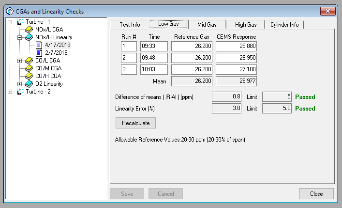 Edit CGA's and Linearity Checks