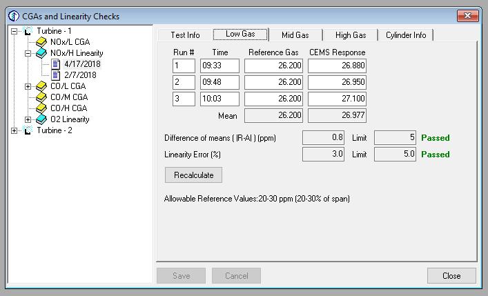 Edit CGA's and Linearity Checks
